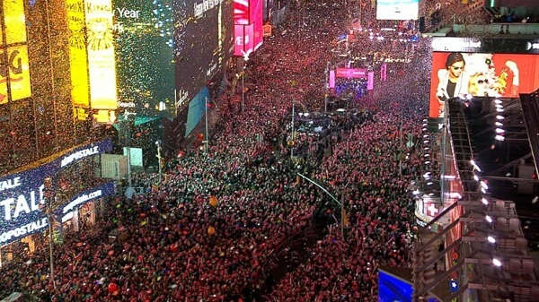 Times Square New Year Crowd